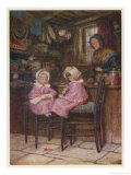 Two Little Girls Dressed in Pink Outfits Sit at the Counter of a Toy and Sweet Shop