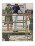 Women on a Jetty Wear Green Bathing Costumes with Black and White Trim