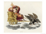 Zeus Carrying a Handful of Thunderbolts in His Golden Chariot Drawn by Eagles