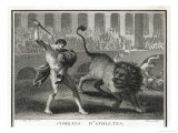 Ancient Rome Gladiators Fighting Lions in an Arena
