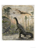 Dinosaurs of the Jurassic Period: a Stegosaurus with a Compsognathus in the Background