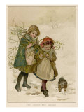 Two Girls and Their Dog Gather Mistletoe in the Snow