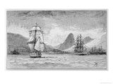 "Hms ""Beagle"" the Ship in Which Charles Darwin Sailed Approaching Mauritius"