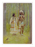 Hiawatha with His Bride Minnehaha Walking Hand in Hand