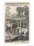 Farmers Appraising Horses and Cattle