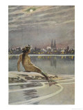 The Little Mermaid Sits on a Rock and Gazes at the Lights of the Distant Town Giclée par Paul Hey