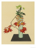 Maple and White Chrysanthemum an Autumn Arrangement