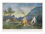 Members of a Camping Club Having Pitched Their Tents Cook by Their Camp Fire