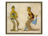 Two Royal Court Dancers Performing the Female Style of Javanese Dance