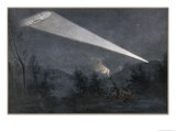 German Zeppelin Airship is Picked out in the Night Sky by a Searchlight from a Fort