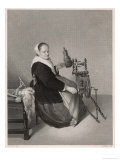 Flemish Housewife at Her Elaborate and Elegant Spinning Wheel