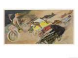 The Chase!  a Symbolic Depicting of the Immense Enthusiasm for Motor Racing