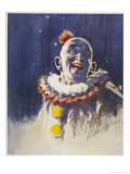 Portrait of a Laughing Clown in His Full Costume at Bertram Mills Circus
