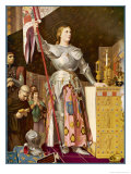Jeanne d'Arc Depicted Looking Very Heroic in Armour While Priests Pray All Around Her