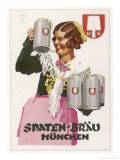 Waitress Brings Four Seidels of Frothy Spaten-Brau