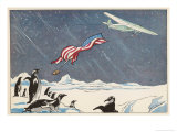 "Admiral Byrd in the Ford Trimotor ""Floyd Bennett"" Drops the American Flag at the South Pole"