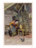 The Ugly Duckling at Home with the Old Woman and Her Other Beasts Giclée par Paul Hey