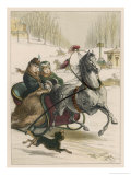 Two Spanish Ladies Go for a Sleigh Ride Accompanied by Their Dog