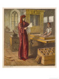 William Caxton Reads a Proof Sheet from His Printing Press