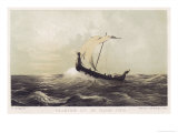 Viking Vessel Heads out into the Open Sea Her Sail Bellying out Before a Favouring Wind