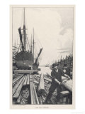 &quot;The Old Shipyard&quot;  a Carpenter Shapes the Timbers of a Sailing Vessel