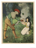 Snow White Kneels and Begs for Mercy as a Ruffian Makes Ready to Kill Her