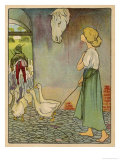 The Goose Girl Looks up at a Horse's Head Hanging on the Wall