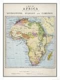Map of Africa Which Illustrates the Travels of Livingstone Stanley and Cameron Giclée premium