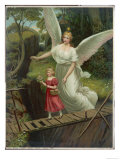 Guardian Angel Watches Over a Child as She Crosses a Dangerous Bridge