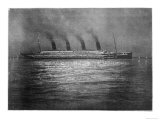 The Ss Titanic Seen at Night Whilst Visiting Cherbourg on the Evening of 10th April 1912
