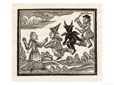 Countrywoman is Amazed to See Two Witches  One Male One Female  Flying Past Escorted by the Devil