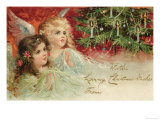 Two Angels Admire the Decorated Tree