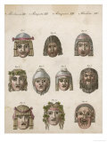 Classical Greek Actors' Masks Depicting Various Expressions and Emotions
