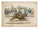 Group of Gentlemen Watch a Monkey Riding a Dog