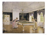 Two Ladies Play in an Elegant Billiard-Room