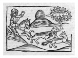"""""""Of the Fox and the Cat"""" Illustration to Caxton's 1484 Edition of Aesop's Fables"""