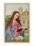 Saint Agnes Reading a Book While a Very Small Lamb Rests Beside Her