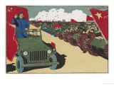 Mao Reviews His Army  The Line up in Tanks as He Drives Past and Salutes