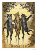 Tabby Polka a Trio of Cats with Arms Linked Dance a Polka by Moonlight