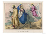 To Save Their Child from Herod's Evil Plan Joseph and Mary Take Him into Egypt Escorted by an Angel