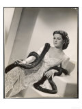 "American Film Star Joan Bennett Models a Dress She Wears in Her Latest Picture ""Girl Trouble"""