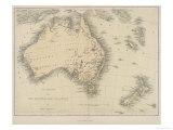 Map of Australia and New Zealand Giclée premium