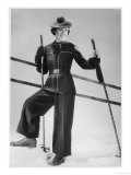 Stylish Ski-Suit with Belted Jacket and Contrasting Piping and Pom-Pon Decoration
