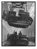 Winching a Tank with an Overhead Crane at a Factory in St Petersburg