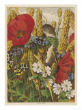 Two Harvest Mice Among the Ears of Corn and Poppies