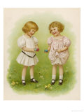Two Children Compare Their Eggs on the Grass