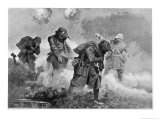 British Troops Transporting Ammunition During Gas Attack Led by 2nd Lieutenant EM Allfrey