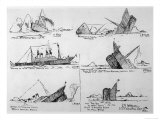 Sequence of Illustrations Showing the Sinking of the Titanic