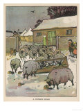 Flock of Sheep in the Snow Eating from a Trough While the Shepherd and Two Children Watch