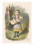 Alice and the Pig Alice Carrying a Baby Pig Giclée premium par John Tenniel
